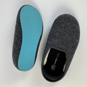 Mahabis Kids Slippers Gray and Borgen Blue Sole